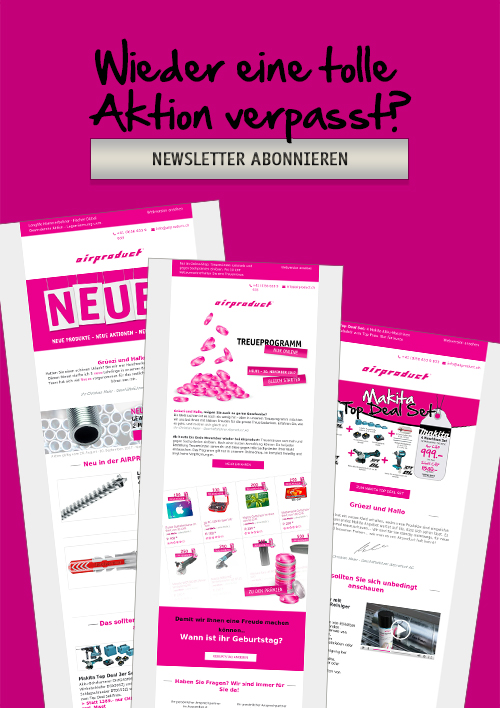 Airproduct AG Newsletter Anmeldung