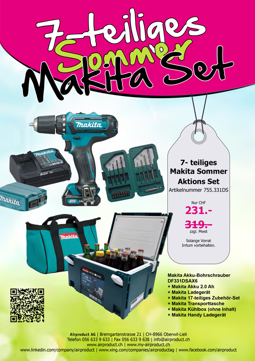 7-teiliges Sommer Makita Set