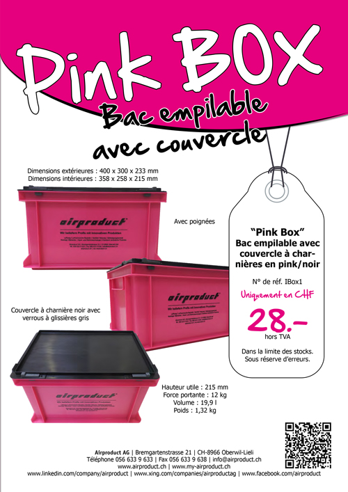 Pink BOX: Bac empilable avec couvercle
